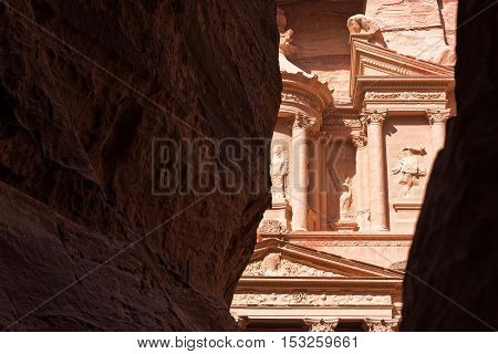 View of top of the Treasury from inside the Siq Petra Jordan
