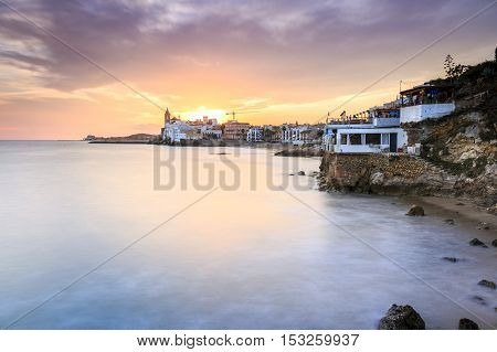 Beautiful Town Of Sitges At Sunset, Spain
