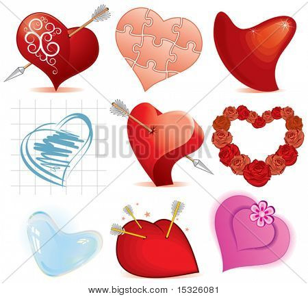 Collection of stylized vector hearts