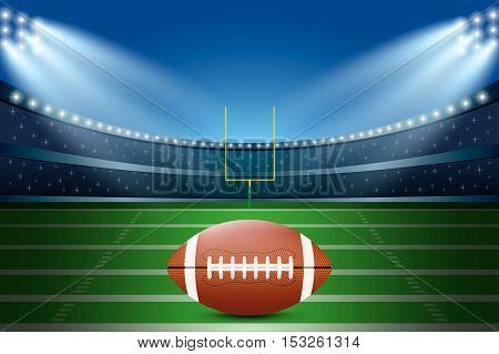 American Football On Field Of Stadium With Spotlight.