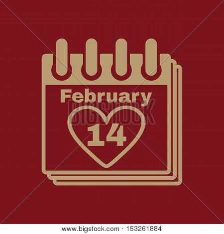 The calendar icon. Valentines day symbol. Flat Vector illustration