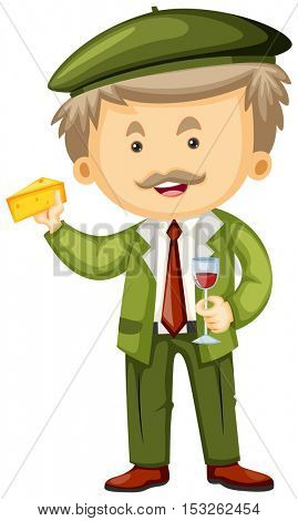 Frenchman with cheese and wine in hands illustration