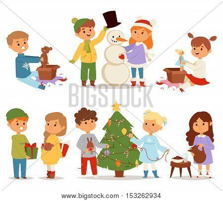 Winter holidays background. Christmas kids playing winter games. Skating, skiing, sledding, girl dresses up Christmas tree, boy makes a snow man, children playing snowballs. Cartoon New Year kids