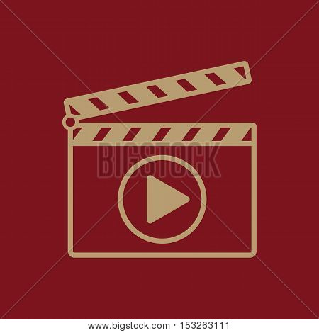 The clapper board icon. Play symbol. Flat Vector illustration