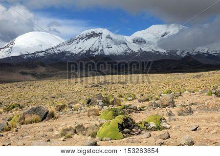 The three peaks of volcano coropuna in the andean mountains of Peru, near cotahuasi canyon