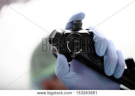 Endoscope in the hands of doctor. Medical examination