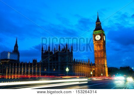 Houses of Parliament London at night with traffic streaks of light.