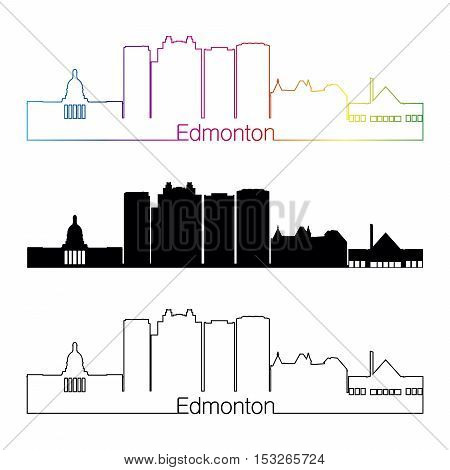 Edmonton V2 Skyline Linear Style With Rainbow