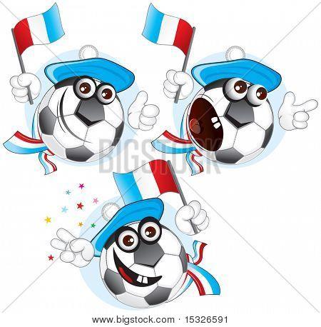 Cartoon football character emotions- FRANCE