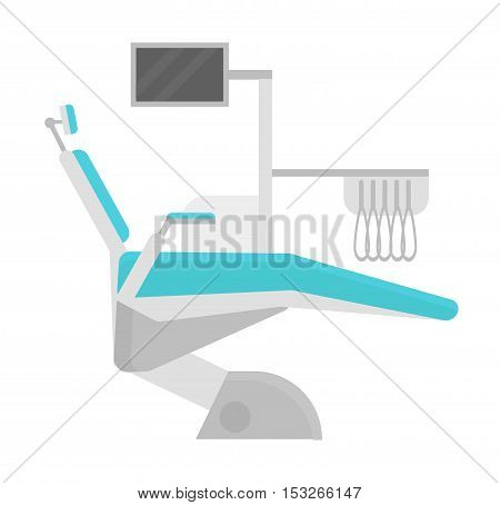 Dental chair vector illustration. Vector illustration dental chair template design. Dental chair in clinic vector. Dental chair illustration isolated