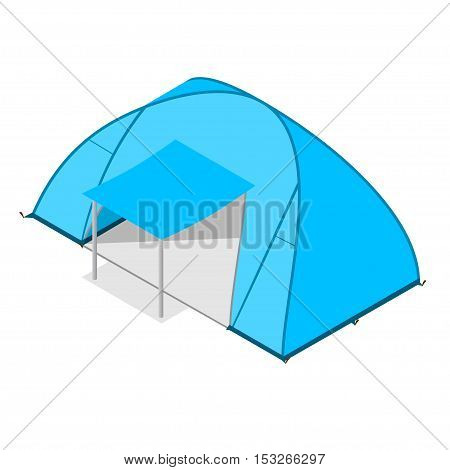 Blue Camping Tent Modern Family. Tourist Camp. Vector illustration