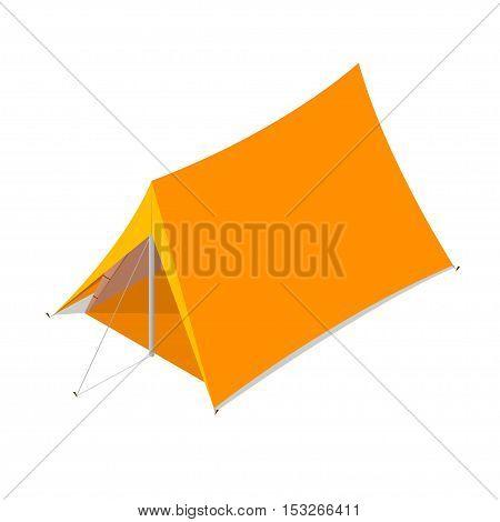 Orange Camping Tent . Tourist Camp. Vector illustration