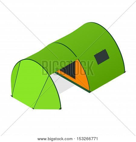 Green Camping Tent with Opened Entrance. Tourist Camp. Vector illustration