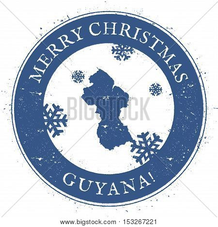 Guyana Map. Vintage Merry Christmas Guyana Stamp. Stylised Rubber Stamp With County Map And Merry Ch