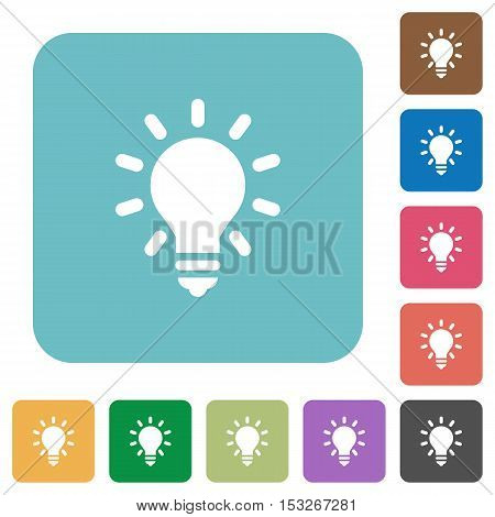 Lighting bulb flat icons on color rounded square backgrounds