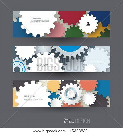 Vector abstract gear wheel banners set. High tech technology and engineering background machine technology futuristic concept. Vector abstract technology for web banner template or brochure