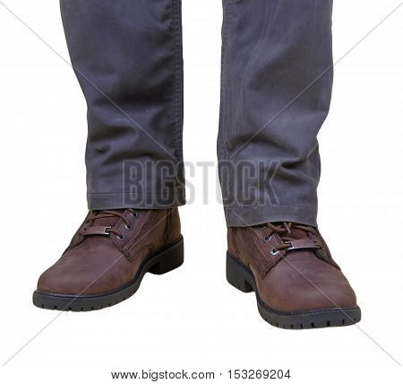 Stylish men's fall boots and trousers on white background