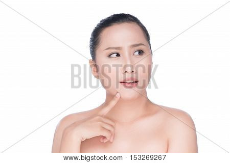 Young woman smile and hand showing concept for health body care on white background model is a asian beauty