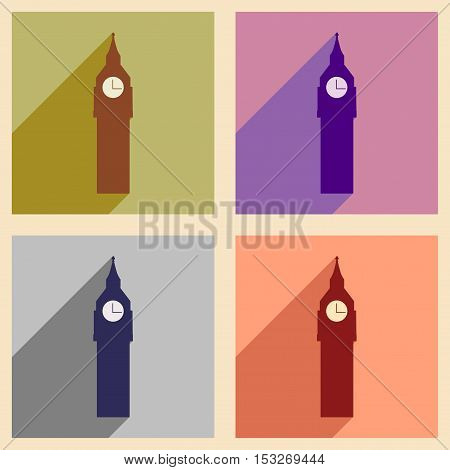 Set of flat icons with long shadow big Ben