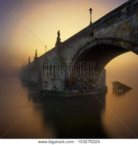 Charles Bridge During Sunrise, Prague, Czech Republic