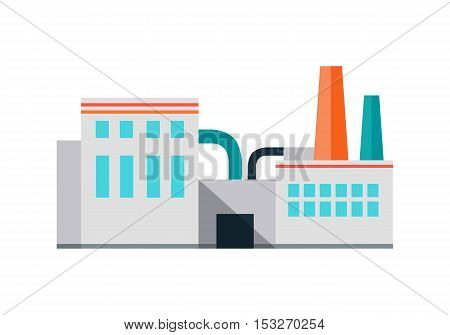 Factory building with pipes in flat. Industrial factory building concept. Industrial plant with pipes. Factory icon. Isolated object in flat design on white background.