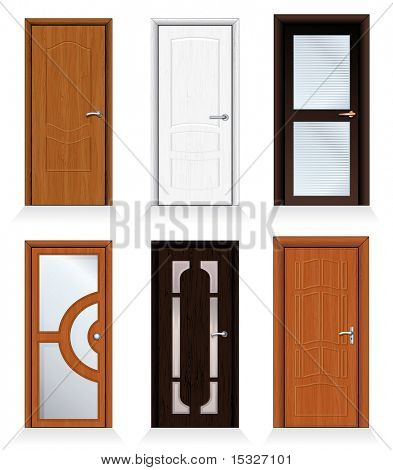 Classic interior and front wooden doors - detailed realistic vector for your design.-to see more similar images, please visit my Gallery poster