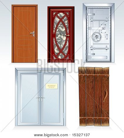 Doors Collection -inc wooden door, front door, vault door, office doors, obsolete rural door.(similar vector version id=61748353)
