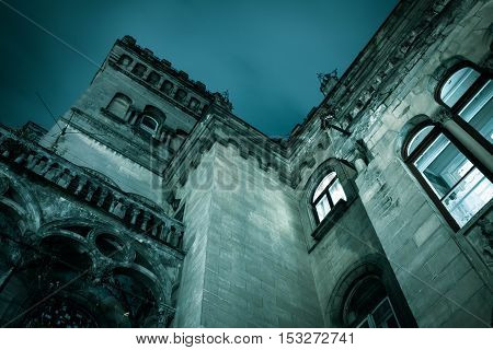 Spooky dark castle house hallowen with gothic windows