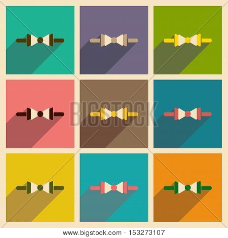 Modern flat icons vector collection with shadow butterfly tie