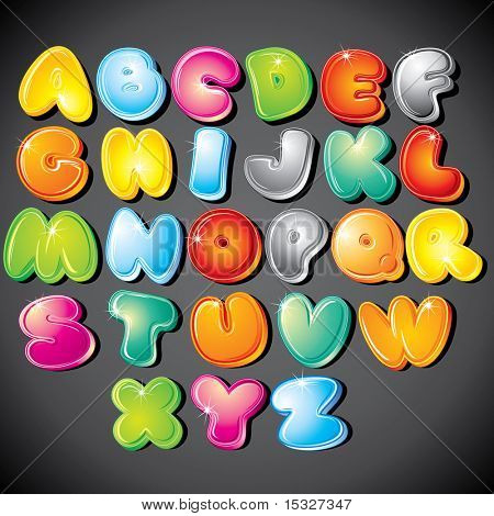Joyful Cartoon font - letter from A to Z, vector clip art poster