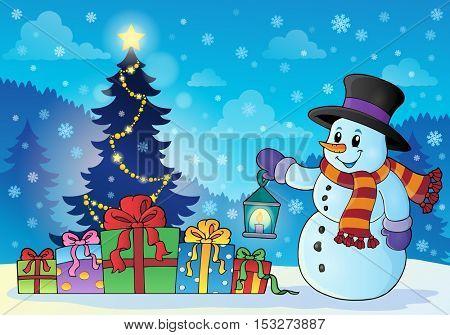 Snowman near Christmas tree theme 1 - eps10 vector illustration.