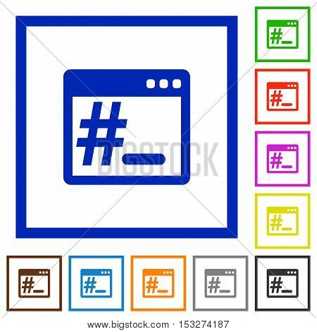OS root terminal flat color icons in square frames