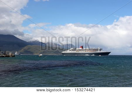 Qm2 In Front Of Ushuaia Coast