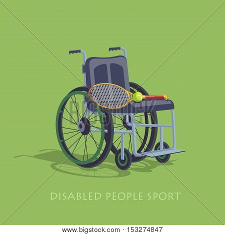 Wheelchair Sport. Tennis in a wheelchair to play.  Disabled sport.