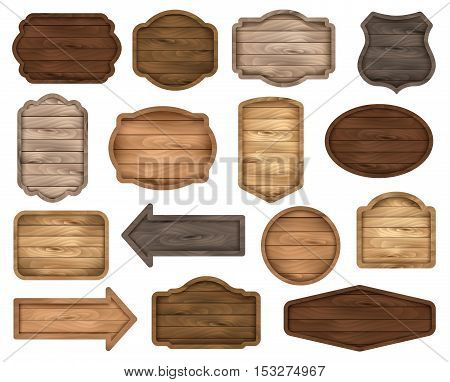 Wooden stickers label collection. Set