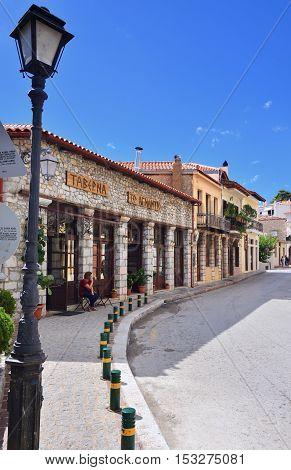 Arahiva Greece - Sept 20 2016: Street in the famous resort of Arachova on mountain Parnassos Greece