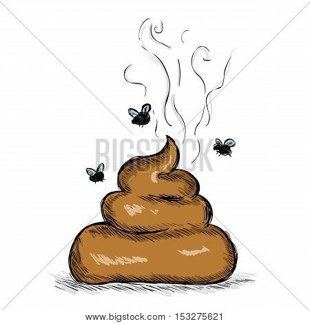 Vector Color Sketch Illustration - Pile Of Shit With Flies