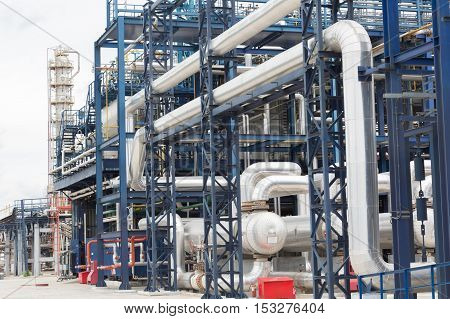 pipelines and destillation tanks of an oil-refinery plant