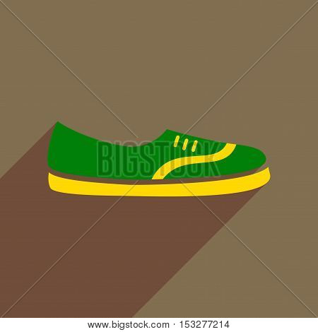 Flat icon with long shadow  moccasin shoes