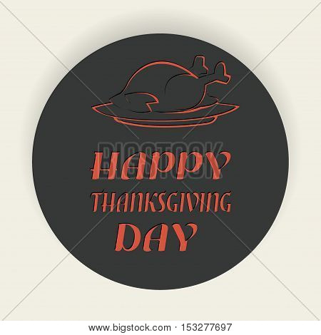 Happy Thanksgiving letering with turkey, Happy Thanksgiving badge, Vector