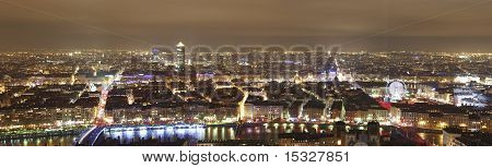 Panorama of Lyon by night, France