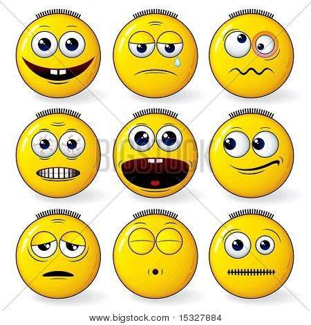yellow smileys set