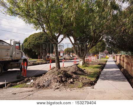 Melbourne Victoria Australia - August 24 2016: Road works in a residential road