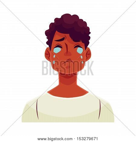Young african man face, crying facial expression, cartoon vector illustrations isolated on white background. Handsome boy emoji crying, shedding tears, sad, heart broken, in grief.