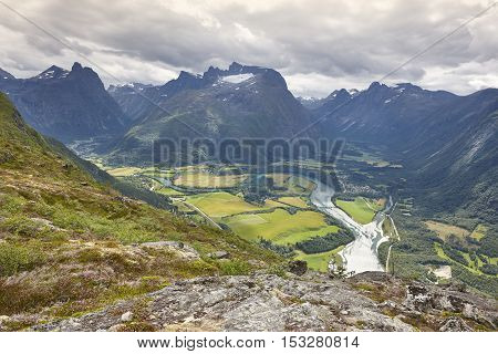 Norway landscape. Romsdal fjord Rauma river and Romsdal mountains. Andalsnes. Nesaksla