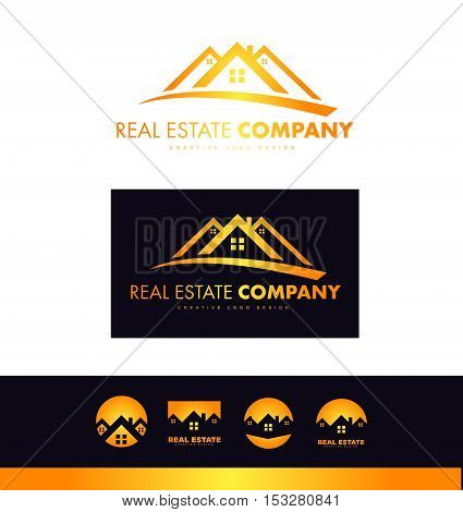 Real estate house roof home vector orange dark blue logo icon sign design template corporate identity