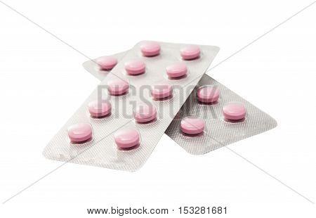 tablet, painkiller, medicine Packing pills on white background