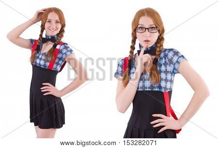 Schoolgirl isolated on the white poster