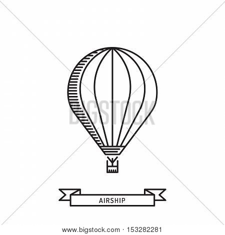 Dirigible and hot air balloons airship. Tools of Aeronautics such as the airship and the balloon to move the delivery by air of goods and people. Elements are drawn in vector in a linear style