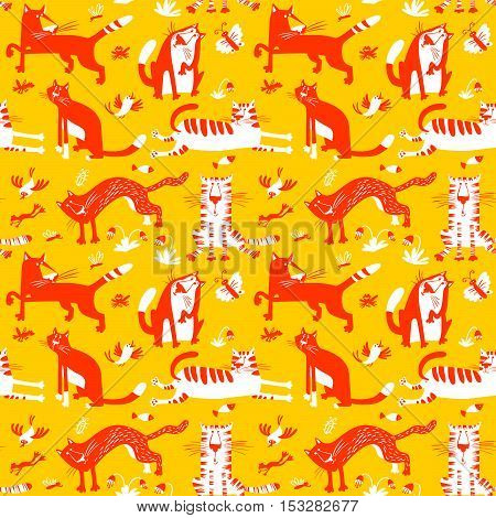 Flat seamless pattern with funny cats. Vector background in children's minimalistic style with floral design elements.fish birds butterfly frogs and insects. Yellow red and white colors